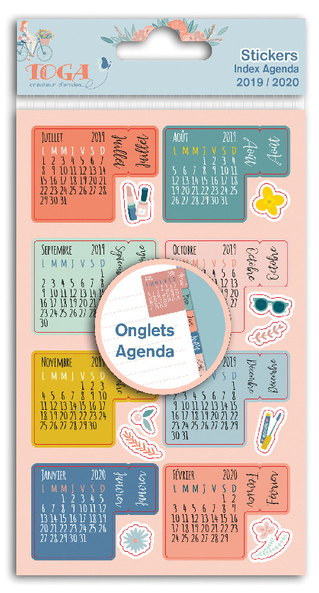 Calendrier Bullet Journal 2020.Stickers Onglets Agenda 2019 2020
