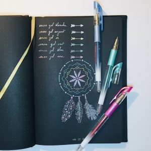 stylo gel bullet journal noir encre metallique